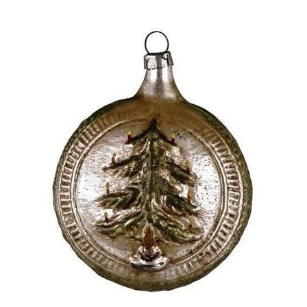 Christbaumschmuck Glas Kugel Mit Weihnachtsbaum Und Stern Patiniert